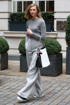 Karlie Kloss wearing Amanda Wakeley trousers