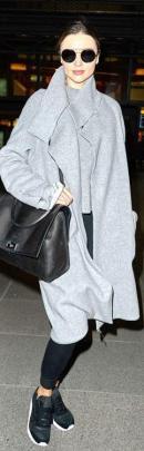 Miranda Kerr wearing Amanda Wakeley coat